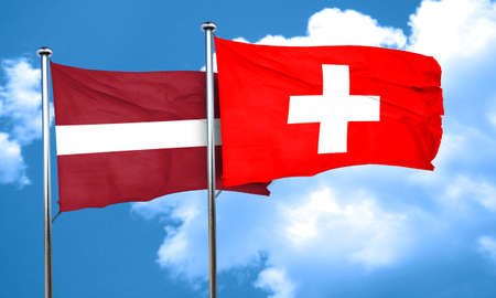 latvia: Latvia flag with Switzerland flag, 3D rendering Stock Photo