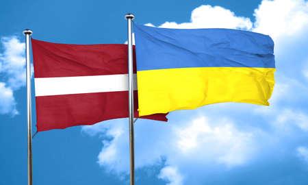 latvia flag: Latvia flag with Ukraine flag, 3D rendering Stock Photo