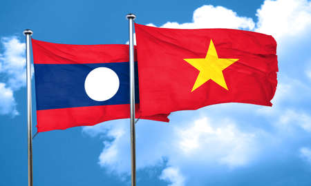 vietnam flag: Laos flag with Vietnam flag, 3D rendering