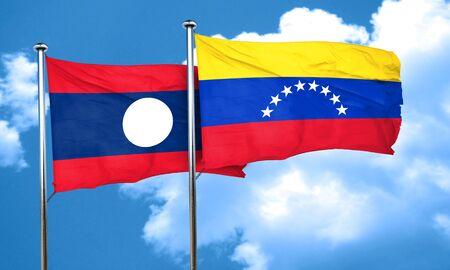 bandera de venezuela: bandera de Laos con la bandera de Venezuela, 3D Foto de archivo