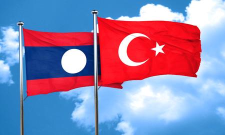 3d turkey: Laos flag with Turkey flag, 3D rendering Stock Photo