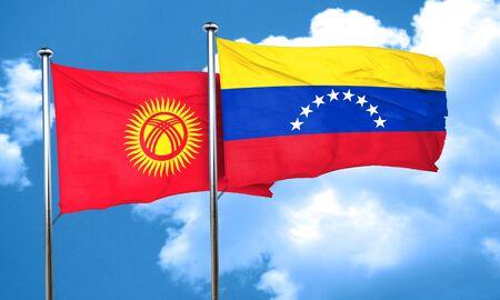 venezuela flag: Bandera de Kirguist�n con la bandera de Venezuela, 3D Foto de archivo
