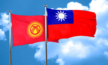 taiwanese: Kyrgyzstan flag with Taiwan flag, 3D rendering