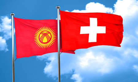 switzerland flag: Kyrgyzstan flag with Switzerland flag, 3D rendering