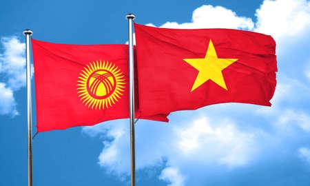 kyrgyzstan: Bandera de Kirguistán con la bandera de Vietnam, 3D