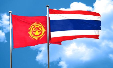 kyrgyzstan: Kyrgyzstan flag with Thailand flag, 3D rendering