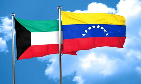 venezuela flag: bandera de Kuwait con la bandera de Venezuela, 3D