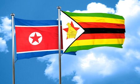 korea flag: North Korea flag with Zimbabwe flag, 3D rendering Stock Photo