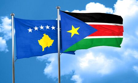 kosovo: Kosovo flag with South Sudan flag, 3D rendering