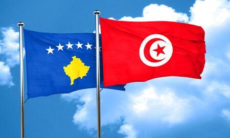 tunisia: Kosovo flag with Tunisia flag, 3D rendering Stock Photo