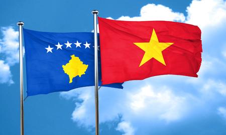 kosovo: Kosovo flag with Vietnam flag, 3D rendering