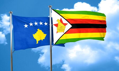 zimbabwe: bandera de Kosovo con la bandera de Zimbabwe, 3D