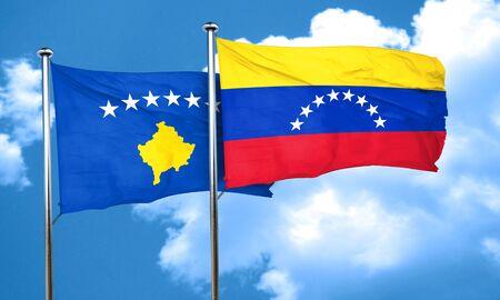 bandera de venezuela: bandera de Kosovo con la bandera Venezuela, 3D