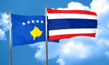 thailand flag: Kosovo flag with Thailand flag, 3D rendering