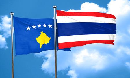 flag pole: Kosovo flag with Thailand flag, 3D rendering