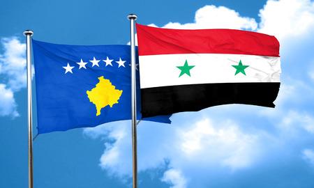 kosovo: Kosovo flag with Syria flag, 3D rendering