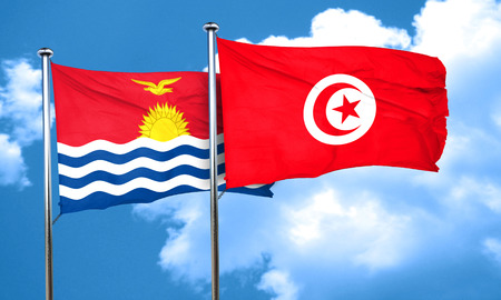 kiribati: Kiribati flag with Tunisia flag, 3D rendering Stock Photo