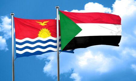 kiribati: Kiribati flag with Sudan flag, 3D rendering