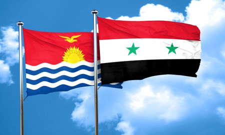 kiribati: Kiribati flag with Syria flag, 3D rendering