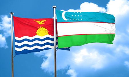 kiribati: Kiribati flag with Uzbekistan flag, 3D rendering