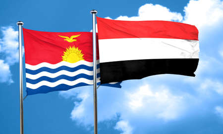 kiribati: Kiribati flag with Yemen flag, 3D rendering Stock Photo