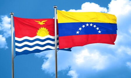 venezuela flag: bandera de Kiribati con bandera de Venezuela, 3D