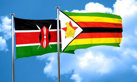 kenya: Kenya flag with Zimbabwe flag, 3D rendering