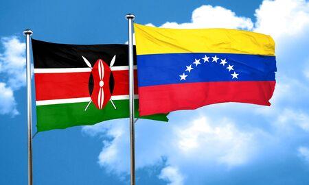 venezuela flag: Kenya flag with Venezuela flag, 3D rendering Stock Photo