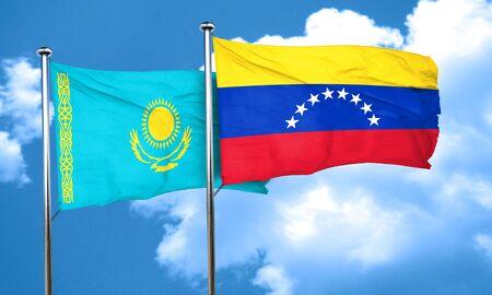 bandera de venezuela: bandera de Kazajistán con la bandera de Venezuela, 3D