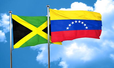 bandera de venezuela: bandera de Jamaica con la bandera de Venezuela, 3D