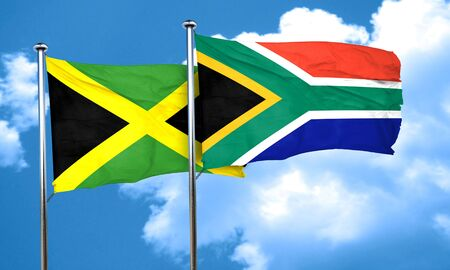 south africa flag: Jamaica flag with South Africa flag, 3D rendering Stock Photo