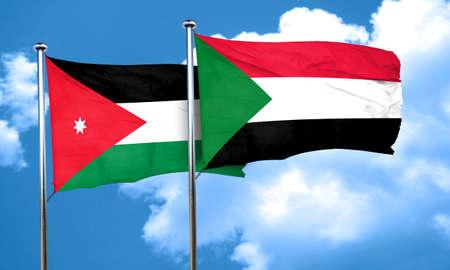 jordan: Jordan flag with Sudan flag, 3D rendering