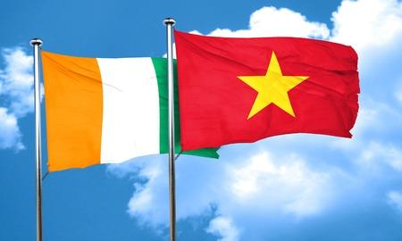 coast: Ivory coast flag with Vietnam flag, 3D rendering