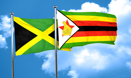 zimbabue: Jamaica flag with Zimbabwe flag, 3D rendering Foto de archivo