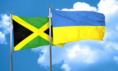 ukraine flag: Jamaica flag with Ukraine flag, 3D rendering