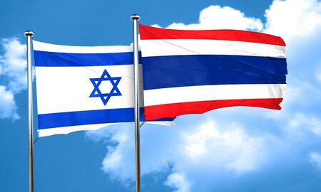 israel flag: Israel flag with Thailand flag, 3D rendering
