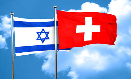 switzerland flag: Israel flag with Switzerland flag, 3D rendering