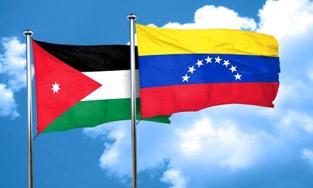 venezuela flag: Bandera de Jordania con la bandera Venezuela, 3D