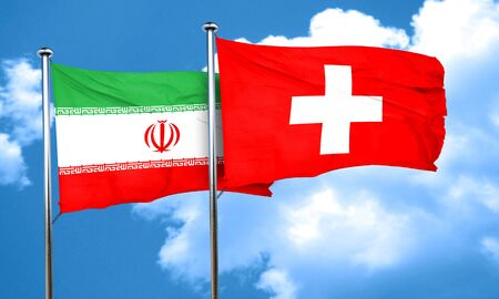 switzerland flag: iran flag with Switzerland flag, 3D rendering Stock Photo