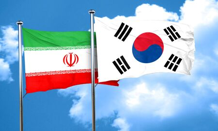 nations: iran flag with South Korea flag, 3D rendering