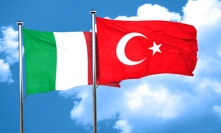 3d turkey: Italy flag with Turkey flag, 3D rendering Stock Photo