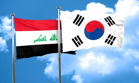 iraq flag: Iraq flag with South Korea flag, 3D rendering