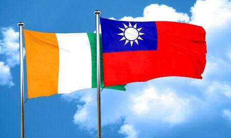 coast: Ivory coast flag with Taiwan flag, 3D rendering Stock Photo