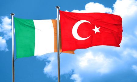 bandera de irlanda: Ireland flag with Turkey flag, 3D rendering Foto de archivo