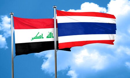 thailand culture: Iraq flag with Thailand flag, 3D rendering