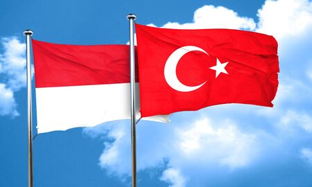 3d turkey: Indonesia flag with Turkey flag, 3D rendering