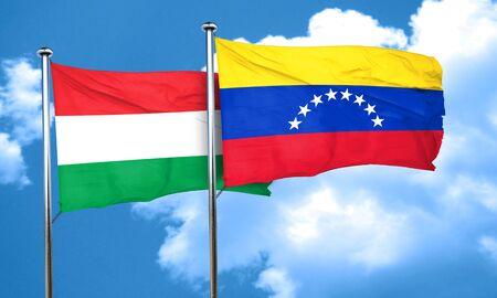 venezuela flag: bandera de Hungr�a con la bandera de Venezuela, 3D Foto de archivo