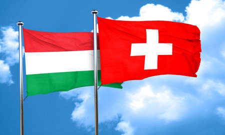 switzerland flag: Hungary flag with Switzerland flag, 3D rendering
