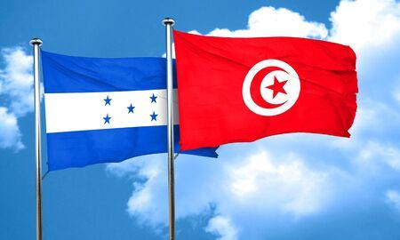 bandera honduras: bandera de Honduras con la bandera de Túnez, 3D