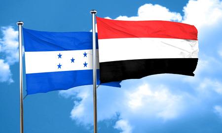 bandera honduras: bandera de Honduras con la bandera de Yemen, 3D